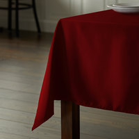 Intedge 54 inch x 81 inch Rectangular Burgundy 100% Polyester Hemmed Cloth Table Cover