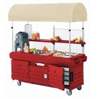 Cambro KVC854C158 CamKiosk Hot Red Vending Cart with 4 Pan Wells and Canopy