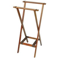 CSL 1178BSO-1 Back Saver 38 inch Dark Walnut Extra Tall Wood Tray Stand with Brown Bottom Straps