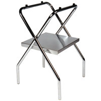 CSL 1054S-C-1 30 1/2 inch Zinc Steel Folding Tray Stand with Stainless Steel Shelf