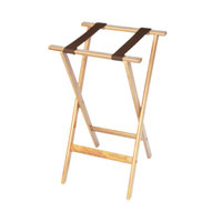 CSL 1170NAT Deluxe 30 inch Natural Wood Tray Stand with Brown Straps - 4/Pack
