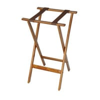 CSL 1170-1 Deluxe 30 inch Dark Walnut Wood Tray Stand with Brown Straps
