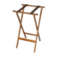 CSL 1170 Deluxe 30 inch Dark Walnut Wood Tray Stand with Brown Straps - 4/Pack