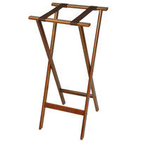 CSL 1178 Back Saver 38 inch Dark Walnut Extra Tall Wood Tray Stand with Brown Straps - 5/Pack