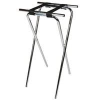 CSL 1036-1 Back Saver 36 inch Chrome Extra Tall Steel Tray Stand with Black Straps