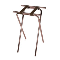 CSL 1053WA Deluxe 31 inch Walnut Steel Tray Stand with Brown Straps - 6/Pack