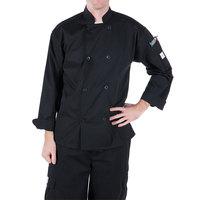 Mercer Culinary Millennia® M60010 Unisex Black Customizable Long Sleeve Cook Jacket - S