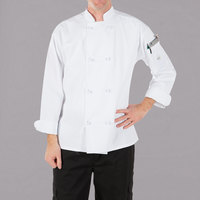 Mercer Culinary Millennia® M60012 Unisex White Customizable Long Sleeve Cook Jacket with Cloth Knot Buttons - 5X