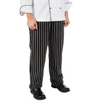 Mercer Culinary Millennia® M60030 Black Unisex Chalk Stripe Cook Pants - Large