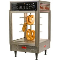 Benchmark USA 51018 Humidified Rotating Pizza / Pretzel Display Warmer with Pretzel Rack and 18 inch Pizza Rack - 120V, 1480W