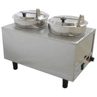 Benchmark USA 51072P Dual 7 Qt. Warmer with Ladles and Lids - 120V, 1200W