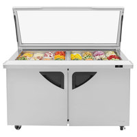 Turbo Air TST-60SD-24-N-GL 60 inch 2 Door Mega Top Hinged Glass Lid Refrigerated Sandwich Prep Table