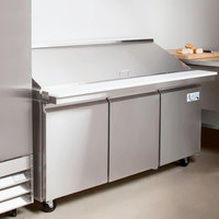 Avantco SS-PT-71M-HC 70 inch 3 Door Mega Top Stainless Steel Refrigerated Sandwich Prep Table