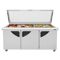 Turbo Air TST-72SD-30-N-GL 72 inch 3 Door Mega Top Hinged Glass Lid Refrigerated Sandwich Prep Table