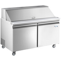 Avantco SS-PT-60M-HC 60 inch 2 Door Mega Top Stainless Steel Refrigerated Sandwich Prep Table