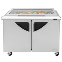 Turbo Air TST-48SD-18-N-GL 48 inch 2 Door Mega Top Hinged Glass Lid Refrigerated Sandwich Prep Table