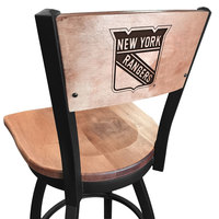 Holland Bar Stool L03830BWMedMplANYRangMedMpl Black Steel New York Rangers Laser Engraved Bar Height Swivel Chair with Maple Back and Seat