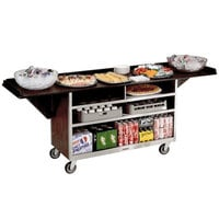 Lakeside 676W Stainless Steel Drop-Leaf Beverage Service Cart with 3 Shelves and Walnut Vinyl Finish - 61 3/4 inch x 24 inch x 38 1/4 inch