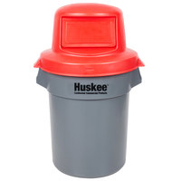 Continental Huskee 55 Gallon Gray Round Trash Can with Red Dome Top Lid