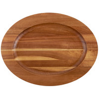 Tablecraft CW30127 12 1/2 inch x 9 1/2 inch Oval Acacia Wood Underliner with Natural Wood-Grain Finish