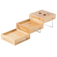 Tablecraft RW555BAM Geo-Mates Bamboo 3-Piece Expandable Riser Set - 5 1/2 inch x 5 1/2 inch x 4 1/2 inch