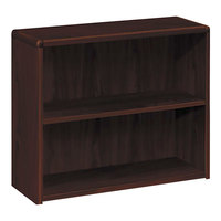 HON 10752NN 10700 Series Mahogany 2 Shelf Laminate Wood Bookcase - 36 inch x 13 1/8 inch x 29 5/8 inch