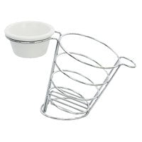 Tablecraft SMBR Meranda 7 3/4 inch x 3 3/4 inch x 5 inch Stainless Steel Side Basket with Ramekin Holder