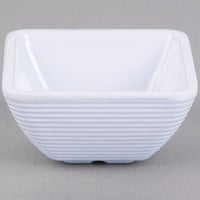 Tablecraft RAMS3W 3 oz. White Square Ribbed Melamine Ramekin - 12/Pack