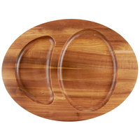 Tablecraft CW30129 16 inch x 12 inch Oval Acacia Wood Divided Underliner with Natural Wood-Grain Finish