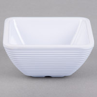 Tablecraft RAMS2W 2 oz. White Square Ribbed Melamine Ramekin - 12/Pack