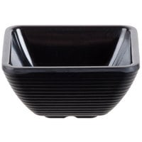 Tablecraft RAMS3BK 3 oz. Black Square Ribbed Melamine Ramekin - 12/Pack