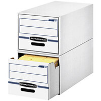 Fellowes 00721 14 inch x 25 1/2 inch x 11 1/2 inch White/Blue Letter Sized Corrugated Fiberboard File Storage Drawer - 6/Case