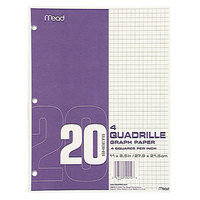 Mead 19010 8 1/2 inch x 11 inch Quadrille Graph Paper Pad - 12/Pack