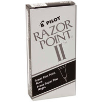 Pilot 11009 Razor Point II Black Super-Fine Point 0.2mm Marker Pen - 12/Box