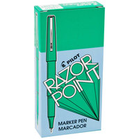 Pilot 11010 Razor Point Green Ultra-Fine Point 0.3mm Marker Pen - 12/Box