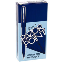 Pilot 11004 Razor Point Blue Ultra-Fine Point 0.3mm Marker Pen - 12/Box