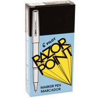 Pilot 11001 Razor Point Black Ultra-Fine Point 0.3mm Marker Pen - 12/Box