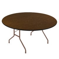 Correll CF60PX01 60 inch Round Walnut High Pressure Heavy Duty Folding Table