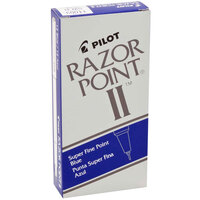 Pilot 11003 Razor Point II Blue Super-Fine Point 0.2mm Marker Pen - 12/Box