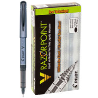 Pilot 11020 V Razor Point Black Ink with Gray Barrel 0.5mm Liquid Marker Pen - 12/Pack