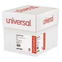 Universal UNV15801 9 1/2 inch x 11 inch White Case of 18# Perforated Continuous Print Computer Paper - 2700 Sheets