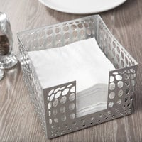 Clipper Mill by GET IRBLG-01 5 1/2 inch x 5 1/2 inch Gray Powder Coated Iron Bulge Napkin Holder