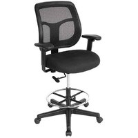Eurotech Seating DFT9800-5806 Apollo Dove Black Fabric / Mesh Swivel Drafting Stool