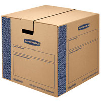 Banker's Box 0062801 SmoothMove Prime 18 inch x 18 inch x 16 inch Kraft / Blue Medium Moving Box   - 8/Case