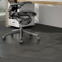 Universal ALEMAT4553CLPL 53 inch x 45 inch Clear Cleated Low Pile Carpet Office Chair Mat with 25 inch x 15 inch Lip