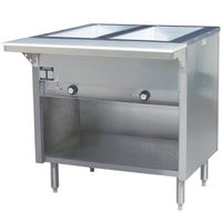 Eagle Group HT2OB Liquid Propane Steam Table with Enclosed Base 7000 BTU - Two Pan - Open Well