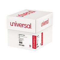 Universal UNV15802 9 1/2 inch x 11 inch White Case of 20# Perforated Continuous Print Computer Paper - 2400 Sheets