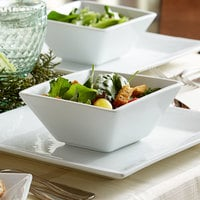 Acopa 18 oz. Square Bright White Porcelain Bowl - 24/Case