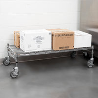 Regency 24 inch x 48 inch Heavy-Duty Mobile Chrome Dunnage Rack with Mat