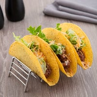 Clipper Mill by GET 4-81858 Specialty Servingware 6 inch x 2 1/2 inch Stainless Steel Taco Holder with 3 or 4 Compartments